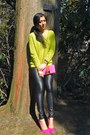 Hot-pink-call-it-spring-pumps-lime-green-forever-21-sweater