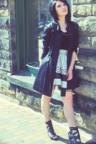black elle coat - black Forever21 top - silver Forever21 Twist skirt - black Zig