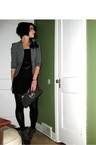 Express blazer - vintage dress - XOXO purse - Express tights