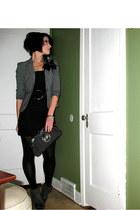 Express blazer - vintage dress - XOXO purse - Express tights