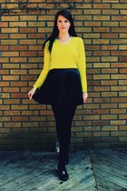 chartreuse shirt - black patent Spring shoes - black pleated H&M skirt