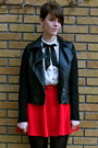 Red-asos-skirt-black-faux-leather-forever-21-jacket