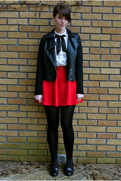 red asos skirt - black faux leather Forever 21 jacket