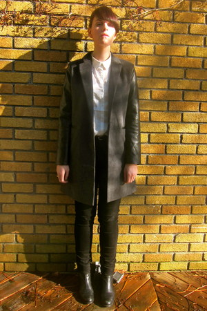 gray leather detail Forever21 coat - black Jacob jeans