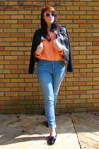 peach H&M shirt - sky blue Forever 21 jeans
