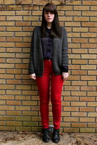 red Gap jeans - navy button up zellers shirt - gray grey wool H&M cardigan