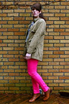 hot pink H&M jeans - burnt orange chelsea asos boots