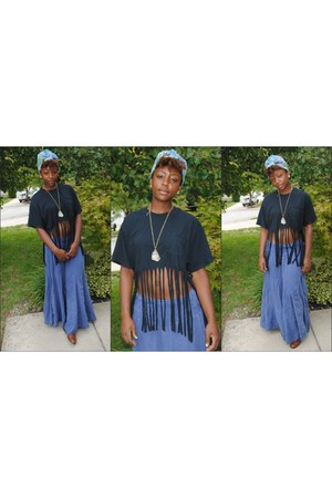 turban i tied hat - made by me shirt - long and denim skirt