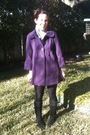 Purple-unknown-coat-black-urban-outfitters-boots-silver-earrings