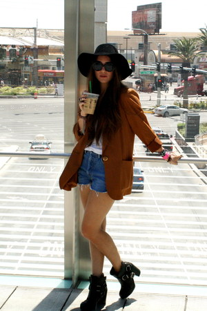 dark brown thrifted vintage blazer - black harness Dolce Vita boots
