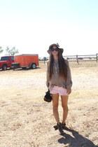 fedora asos hat - Forever 21 shorts - Loft blouse