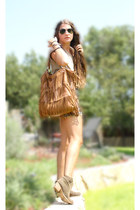 leather fringe bag - knit Urban Outfitters shorts - cross Forever 21 necklace