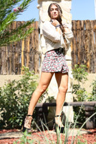 floral Audrey shorts - knit Forever 21 sweater - mary jane Steve Madden heels