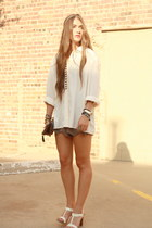 vintage silk Shoppalu top - clutch Forever 21 bag - scalloped Audrey shorts