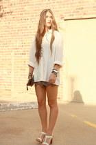vintage silk Shoppalu top - clutch Forever 21 bag - scalloped Audrey shorts