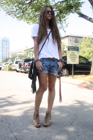 fringed cro Romams 122 bag - Urban Outfitters shorts - Jeffrey Campbell wedges
