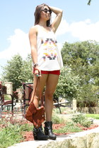 navajo Nasty Gal top - the cro bag Romans 122 bag - red Forever 21 shorts