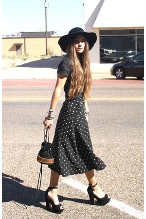 polka dot Forever 21 skirt - vintage hat - nirvana Urban Outfitters shirt