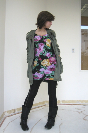 pink f21 dress - green H&M jacket - f21