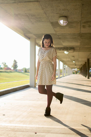black DV by dolce vita boots - ivory polka dots Ruche dress - maroon Loft tights