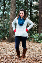 brown Steve Madden boots - navy Mossimo jeans - light blue Lush sweater