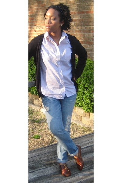 blue LC Lauren Conrad jeans - brown Steve Madden shoes