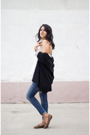 black Stradivarius blazer - navy Zara jeans - white Zara top