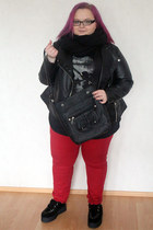 black faux suede Have2have shoes - red red skinny ASOS Curve jeans