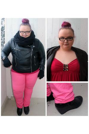 bubble gum pink H&M jeans - black leather H&M jacket - black wool Vila scarf