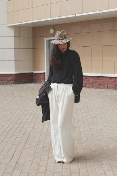 black Celine coat - beige Topshop hat - black vintage blouse - ivory Mango pants