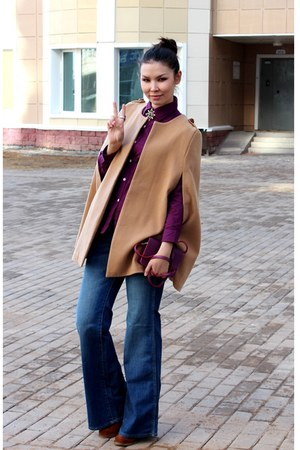 camel Zara cape - bronze boots - navy H&amp;M jeans - magenta Baekgaard bag