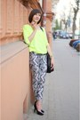 Black-bag-white-h-m-pants-yellow-reserved-blouse-black-heels