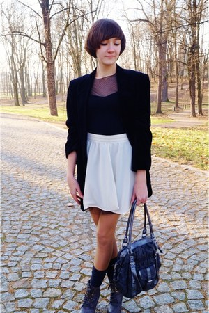black  blazer - black Bialcon blouse - neutral DIY skirt