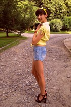 yellow DIY scarf - blue DIY shorts - black Stradivarius sandals