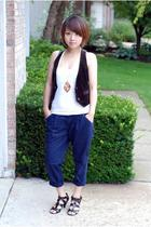 Forever21 pants - JCrew vest - H&M necklace - Zara shoes