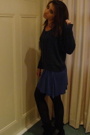 dress - sweater - stockings - boots