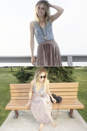 pink American Apparel skirt - sky blue Urban Outfitters vest
