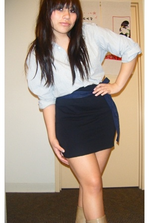 Target skirt - Forever21 tie - thrift boots