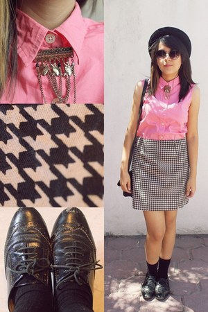 Forever 21 hat - oxford Steve Madden shoes - vintage shirt - vintage skirt