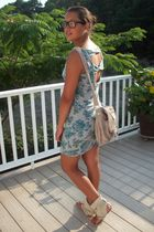 blue Wet Seal dress - beige Tellos shoes - beige Aldo bag