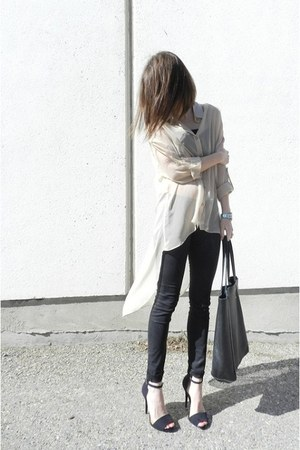 romwe shirt - ROOTS bag - AX pants - Zara heels