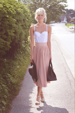 light pink GINA TRICOT skirt - dark brown Hermes bag - H&M top