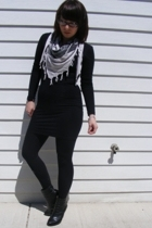 American Apparel dress - obey scarf - Express leggings - Wet Seal boots
