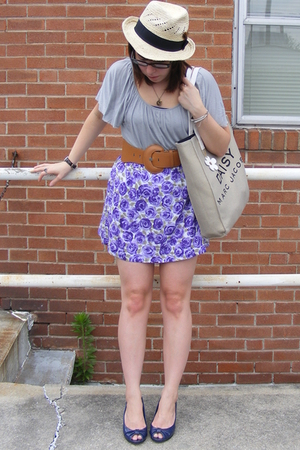 Wet Seal skirt - Wet Seal blouse - Wet Seal belt - forever 21 hat - payless shoe