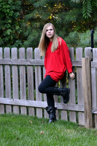 Red Oversized American Apparel Hoodies Black Boots Black ...
