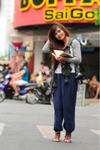 navy alibaba long pants - hat - gray sweater scarf - burnt orange sandals