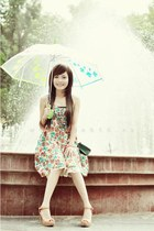 floral dress dress - forest green bag - white umbrella accessories
