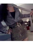 blue Jcrew shirt - white north face scarf - brown vintage skirt