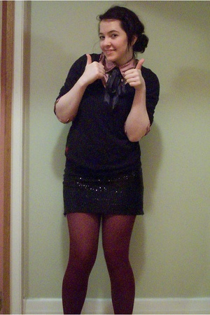 Myer sweater -  shirt - DIY skirt - aa tights - tie