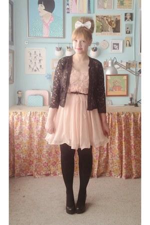 light pink modcloth dress - black H&M cardigan - black Blowfish wedges